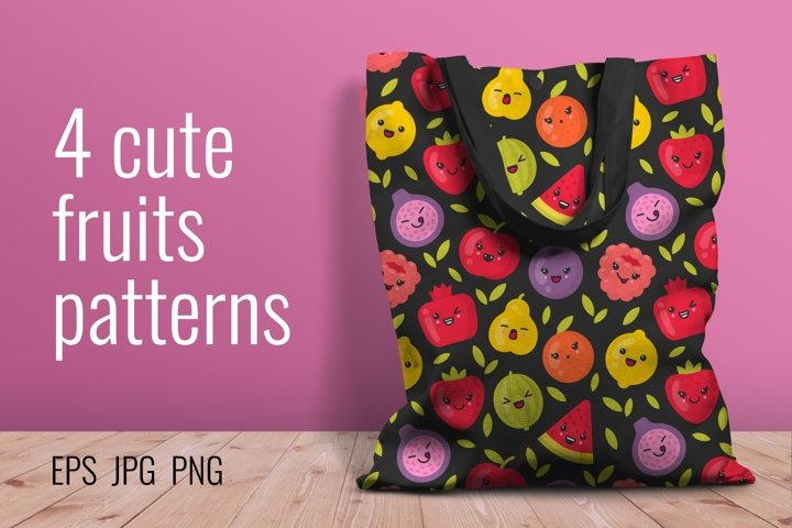 4 cute fruits patterns