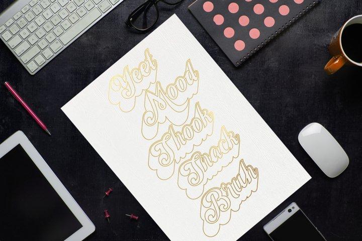 Millennial Slang Words SKETCH Single Line SVG