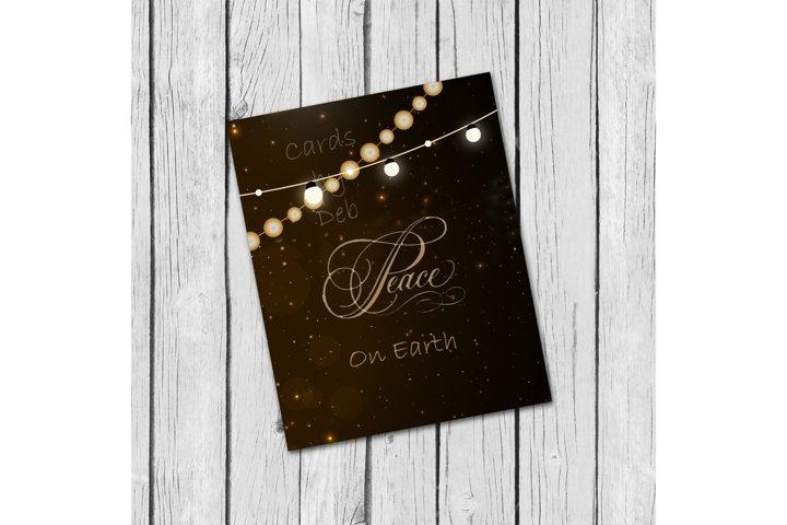 Digital Christmas Card, Printable Digital Christmas Card, Gold Peace on Earth Card, Black and Gold Christmas Card, Happy Holidays Card, Instand Download Card Description