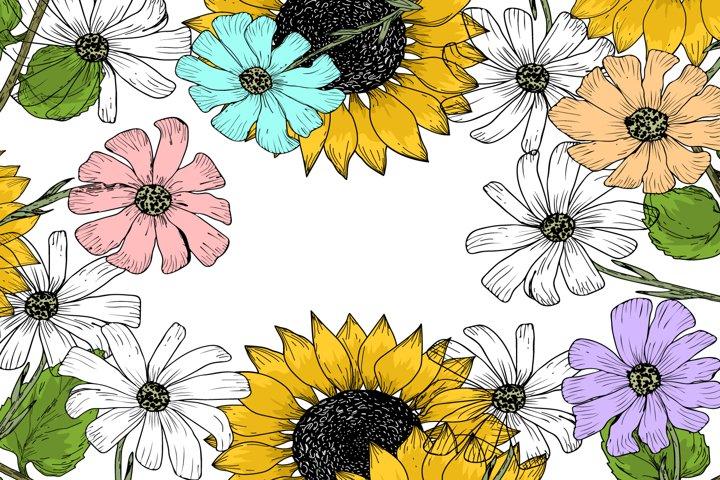 Frame of flowers in vector