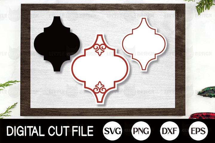 Arabesque Tile Ornament SVG Template, Arabesque Frame Set