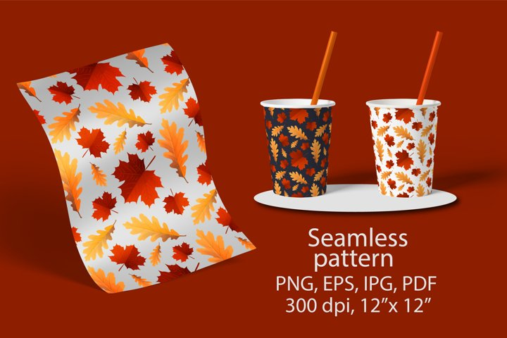 Maple, oak leaves seamless patterns. Fall leaf Digital paper