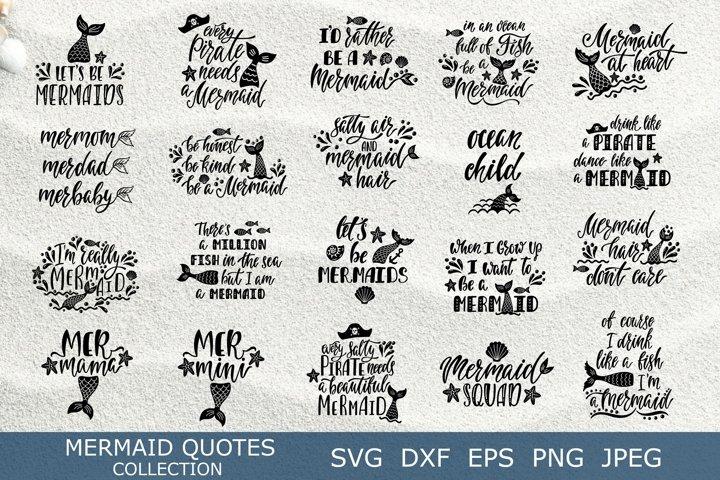 Mermaid quotes SVG bundle. 22 unique summer vector designs.
