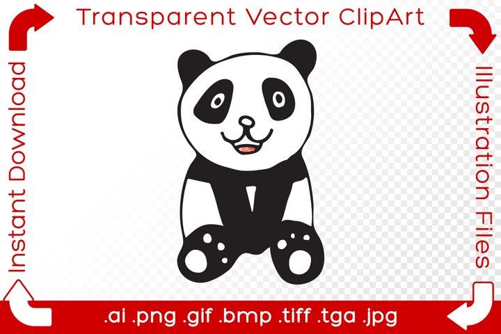 Panda Vector ClipArt Illustration Sitting Bear Hand Drawn