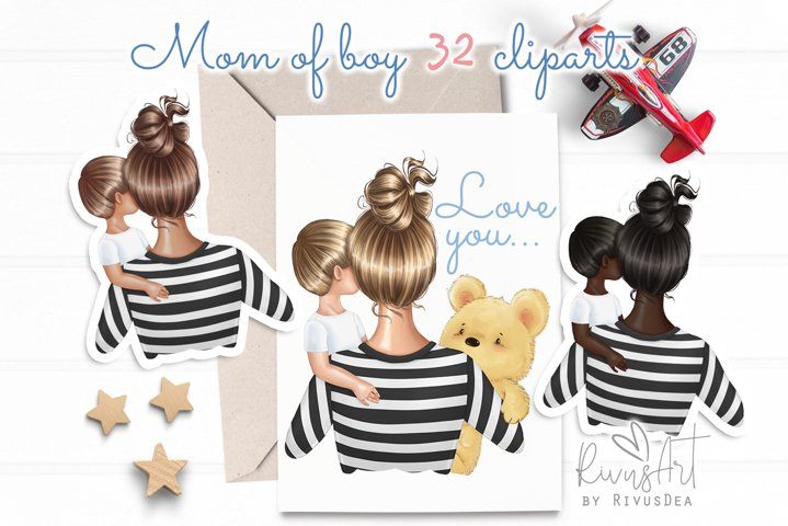 Mothers Day Mom Son clipart