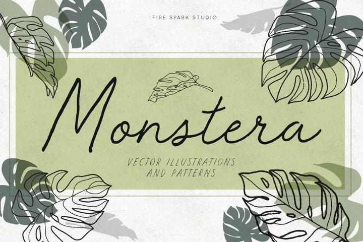 Monstera Leaf Vector Illustrations