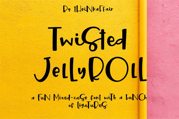Twisted Jellyroll, a quirky mixed-case font with ligatures