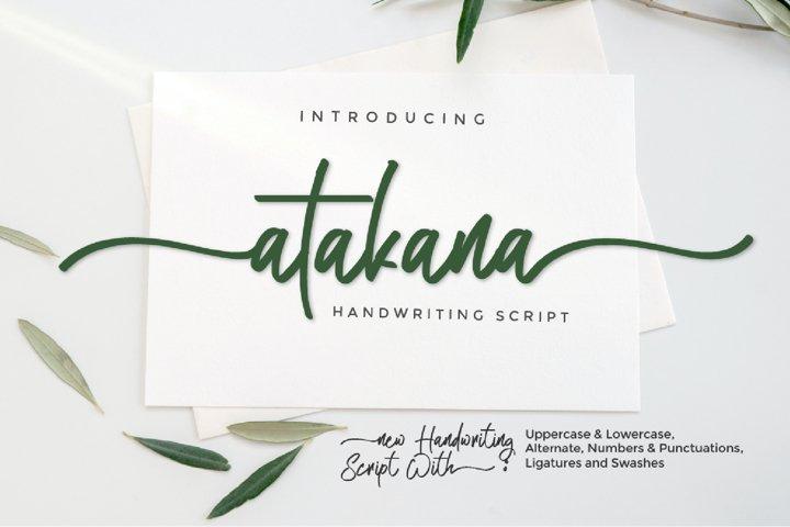 Atakana Handwriting Font Script