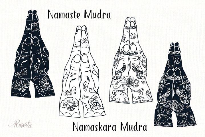 Namaskara Mudra, Namaste Mudra with mehendi pattern