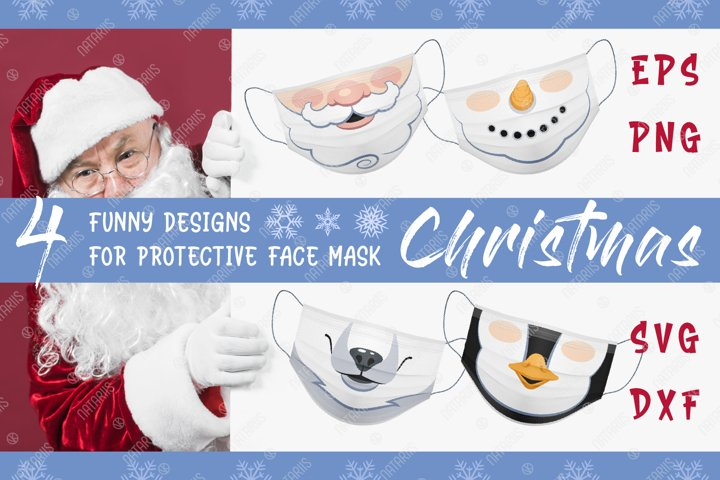 4 Funny Christmas designs for protective face mask.