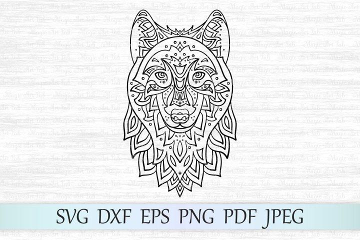 Wolf svg, Zentangle wolf svg, Mandala wolf svg, Wolf head