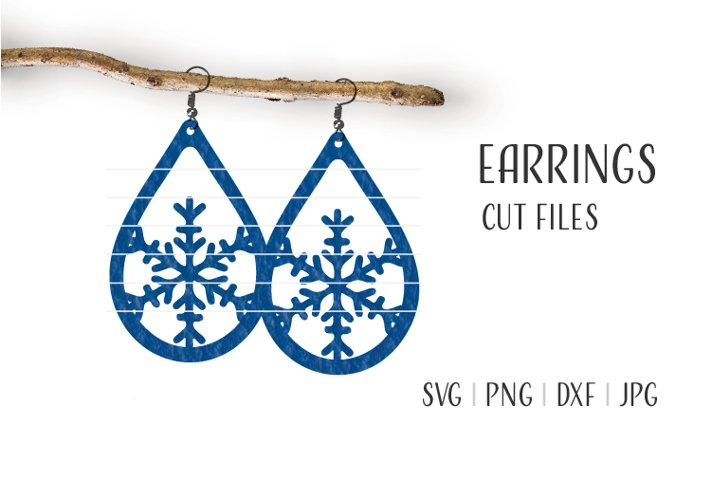 Snowflake Earrings Svg, Earrings Template