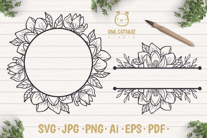 Magnolia Wreath SVG, Split Border Monogram, Wedding Flowers