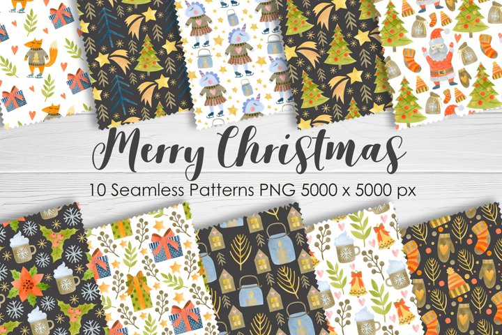 Merry Christmas watercolor seamless pattern. Paper Pack.