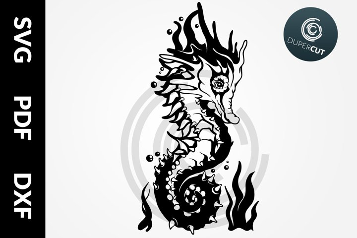 SVG / PDF / DXF Seahorse, Papercutting Template
