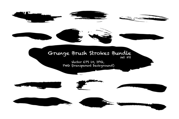 Grunge brush strokes clip art collection / EPS PNG JPG