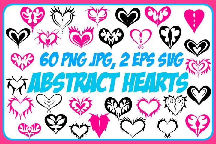 60 Abstract Valentine Hearts Collection ESP, JPG, PNG, SVG