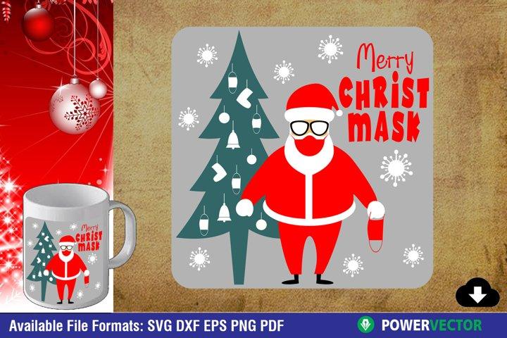 Christmas SVG, Illustration of Santa Claus Wearing Red Mask