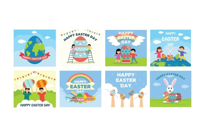 Bundle Easter Greeting Flat Design