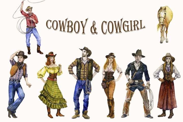 Watercolor Cowboy and Cowgirl Clipart png set Western Family