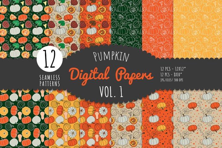 Pumpkin Digital Paper Pack- Vol. 1