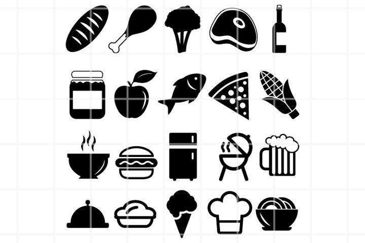 Food and drink SVG black set for cut. Restaurant symbols.
