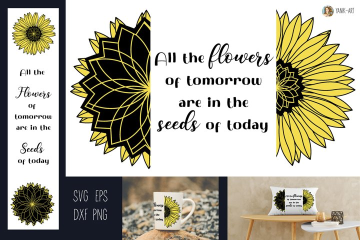 Sunflower quote SVG flowers and seeds sublimation design
