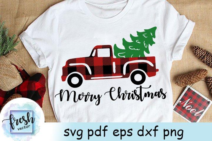 Christmas Truck Tree Svg Merry Christmas Svg Buffalo Plaid