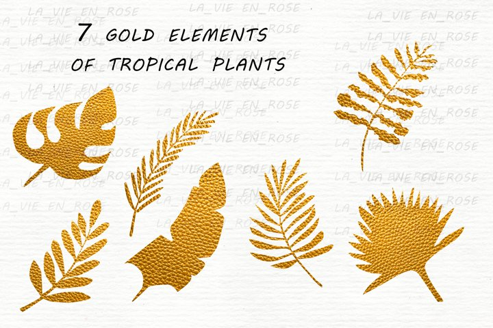 Watercolor clipart with tropical leaves. example 8
