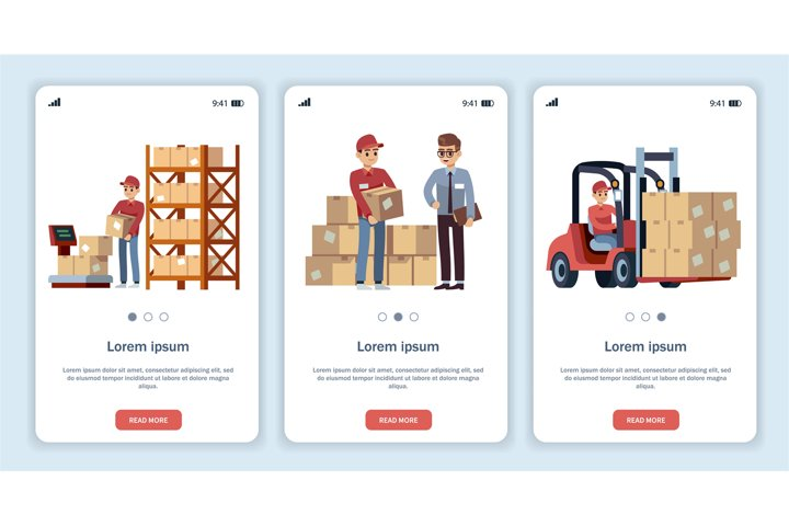 Warehouse for mobile app. Logistic theme transportation and