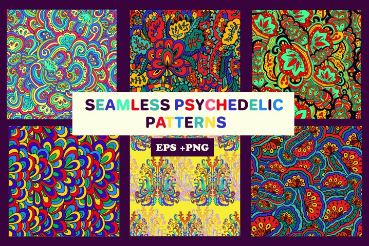 6 psychedelic seamless patterns