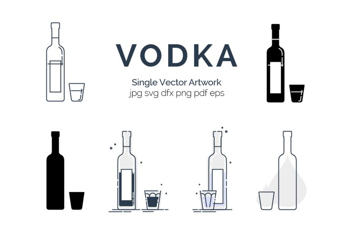 Set of bottles and glasses with vodka in different styles