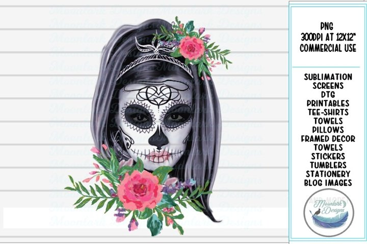floral sugar skull skeleton halloween rose PNG sublimation