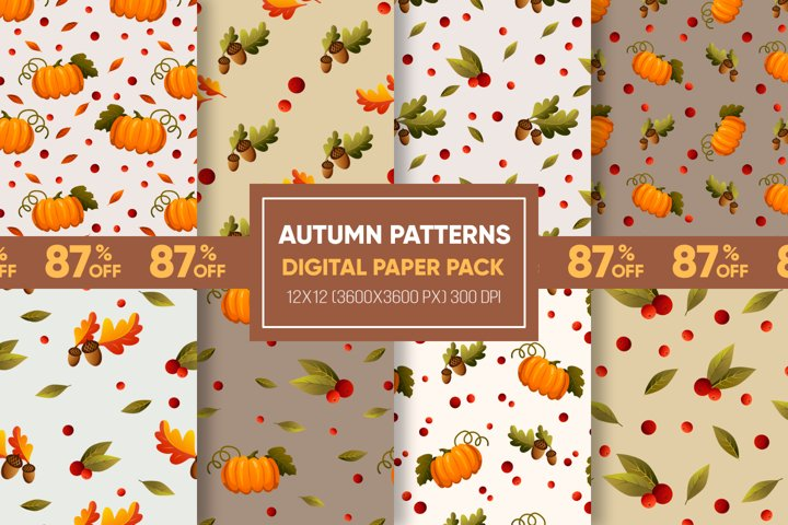 Pumpkins & leaves. Fall leaves. Fall patterns. Fall paper