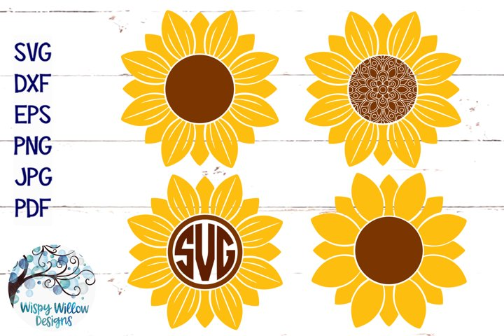 Sunflower SVG Set | Monogram | Mandala | Fall SVG Cut File