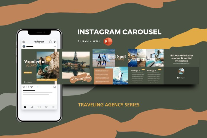Traveling agency instagram carousel template powerpoint