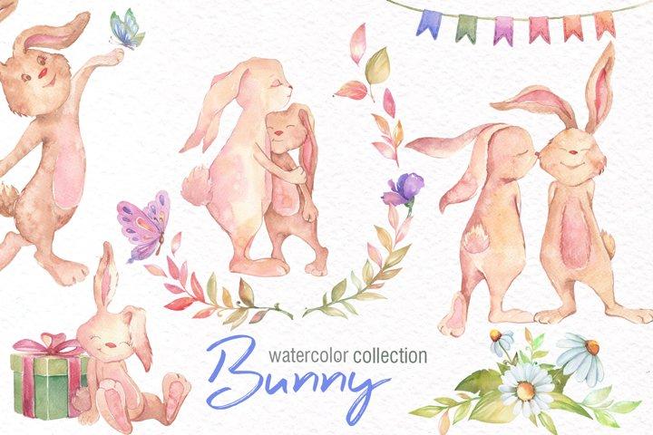 Watercolor Bunny Clipart example