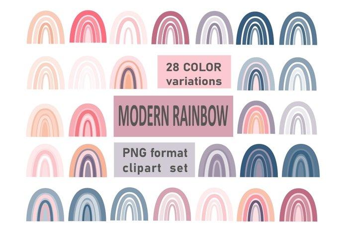 Modern Boho Rainbow clipart, PNG printable set, 28 elements