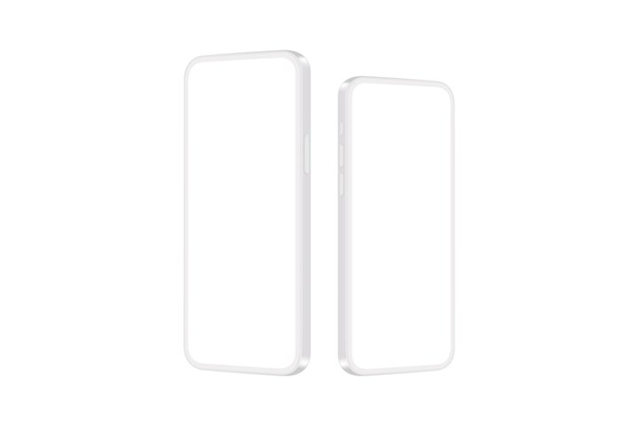 Phones Clay Mockups with Blank Screens, Side View