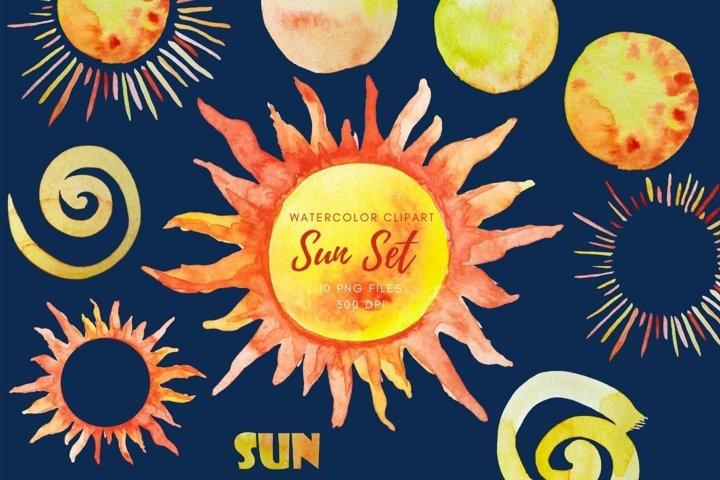 Clipart watercolor sun. Set of watercolor sun. Sunshine png.
