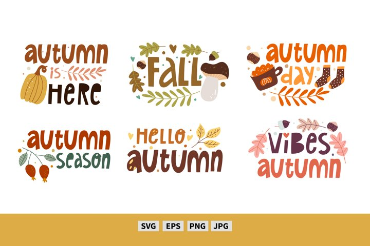 Fall vector clipart. Autumn quote svg