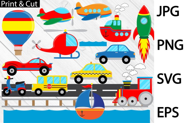 Fun Transportation - Clip art / Cutting Files 407c