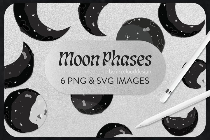 6 White Black Moon Stars Celestial |Planets Vector|PNG & SVG example