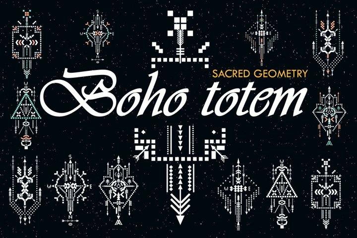 Boho totem. Sacred geometry example