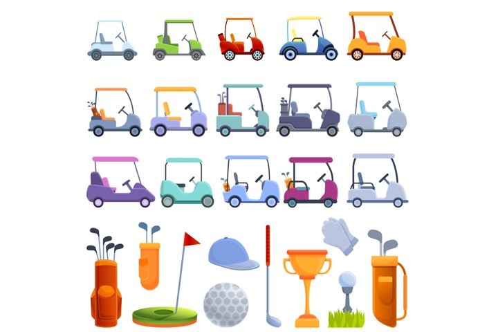 Golf cart icons set, cartoon style