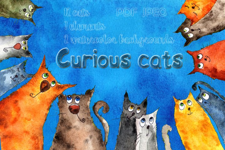 Watercolor illustration Curious Cats