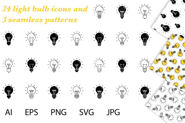 Bulb icons, bulb digital papers. Light Bulbs ClipArt