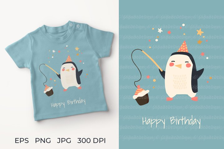 Penguin birthday illustration. Penguin Greeting Card