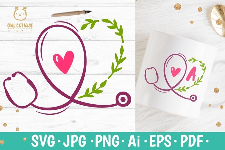 Floral Stethoscope SVG, Nurse Floral Monogram SVG