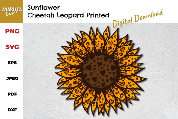 Sunflower with Cheetah Leopard Print | SVG PNG Sublimation